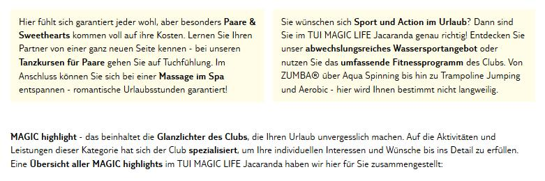 Club Magic Life Jacaranda Aktivitäten