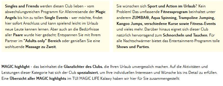 Club Magic Life Kalawy Aktivitäten