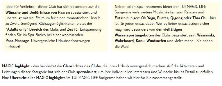 Club Magic Life Sarigerme Aktivitäten