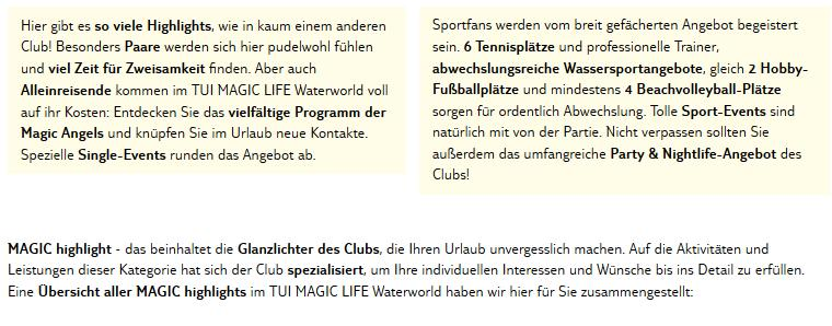 Club Magic Life Waterworld Imperial Aktivitäten
